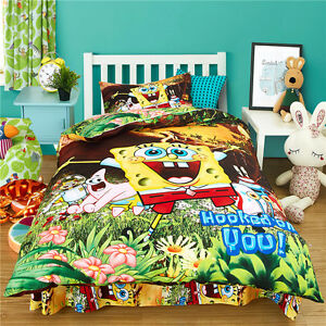 Yellow SpongeBob King Single Size Bed Quilt/Duvet/Doona Cover Set Pillow Case