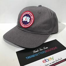 CANADA GOOSE PATCH LOGO BASEBALL CAP HAT SNAPBACK GREY BLACK S M MENS UNISEX