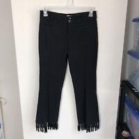 Anthropologie Women's Size 4 The Essential Crop Flare Tassel Hem Pants Black Mid