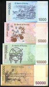 South Korea full set 1000, 5000, 10000, 50000 Won 2006-2009 P-54,55,56,57 UNC