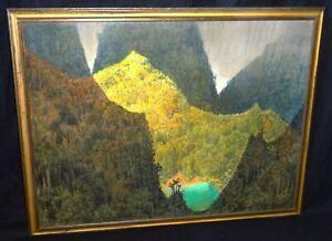 Mid Century Modern Kauai Painting Hanalei Dragon Mario Larrinaga (1895-1979)(AHB