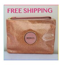 FREE POST MIMCO SHIMMER ROSE GOLD GLITTER MEDIUM POUCH EVENING BAG AUTH