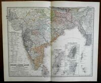 Southern India insets of Bombay Calcutta Madras 1875 Stieler detailed lovely map