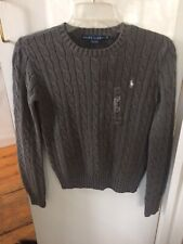 Polo Ralph Lauren Women's Gray 100% Cotton Cable Knit Pullover Sweater XS NWT