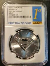 RARE!!! 2016-Canada-$5 Superman Coin- 1oz.9999 Silver-MS 69-FIRST DAY OF ISSUE!!