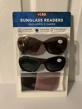 ICON Womens Reading Sunglasses 2 Pack with Cases +1.50 NEW Multicolor