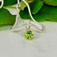 Peridot Sterling Silver Pendant  w/ Snake Chain Necklace