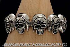 Totenkopf Armband 8 Helmed Skulls mit Motorradbrille Edelstahl Biker Geschenk