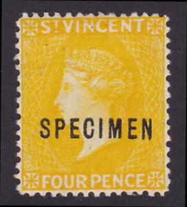 St Vincent. 1893. SG 56s, 4d yellow, specimen. Fine mounted mint.