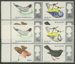 GB Error 1966 4d Birds block of 4 Variety Bright Blue omitted - Cat £1,400