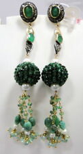 Victorian gold silver Emerald chandelier earrings diamond dangles fine jewelry