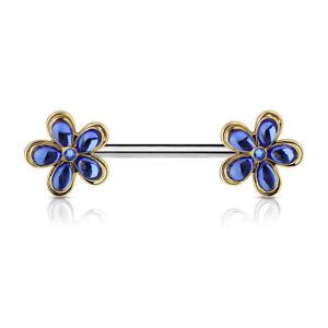 Pair of Set Flower Ends Nipple Ring Shield 14 Gauge 9/16 Inch Steel Barbell F141