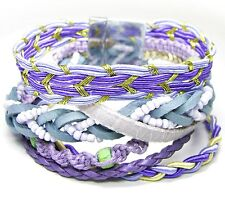 NEU 19,5cm ARMBAND 6-Reihig STATEMENT Blogger HIPPIE-STYLE Arm Candy STOFF Lila