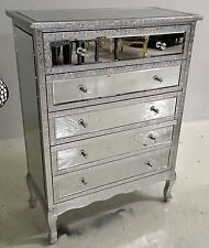 Silver Embossed Metal 5 Drawer Mirrored  Chest Of Drawers