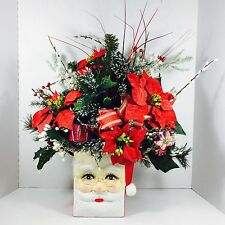 "Estate Find: Santa Christmas Holiday 18"" Floral Centerpiece Arrangement"