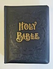 VINTAGE BLACK LEATHER LARGE PICTORIAL FAMILY BIBLE - A J Holman 20th Century Ed