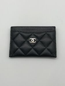 Authentic CHANEL Black Caviar Leather Card Holder Wallet Silver Hardware