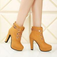 Fashion Platform Womens Block High Heels Pumps Buckle S9 Party Ankle Boots Shoes