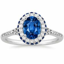 2.00cts Oval Cut Blue Sapphire Diamond Engagement Ring Solid 14k White Gold