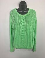 WOMENS SUPERDRY GREEN KNIT LONG SLEEVE CREW NECK JUMPER SWEATER PULLOVER SIZE M