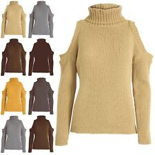 Women Ladies Cold Shoulder Turtle Roll Neck Chunky Knit High Low Pullover Jumper