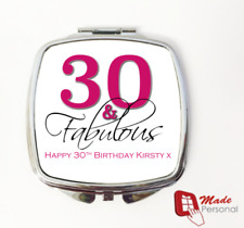 PERSONALISED 30th Birthday Gift compact mirror- 30 & Fabulous
