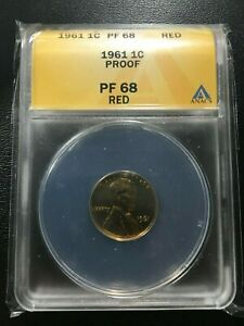 1961 PROOF LINCOLN MEMORIAL CENT ANACS PR-68 RED - PENNY - CERTIFIED SLAB - 1C