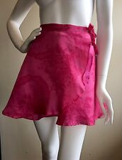 Byblos SZ 38 Pink Floral Silk Wrap Above The Knee Mini Skirt  Italy