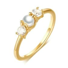SHIPS FAST! Large Double White Faux Pearl Gold Alloy Metal Statement Band Ring