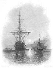 Hampshire MEN OF WAR SHIP GALLEON FRIGATE SPITHEAD ~ 1840 Art Print Engraving
