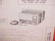 1962 EICO CB RADIO SERVICE SHOP MANUAL MODELS 760 760W 761 761W 762 762W