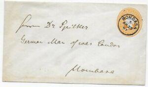 British East Africa 1897 -Letter to Mombasa -Ganzsache mit Überdruck -SMS Condor