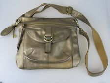 FOSSIL Medium Gold SASHA Leather Cross-Body Slim Purse Bag