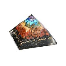 Mesa de escritório em casa e decoração multi cor sete Chakra shungite Pirâmide