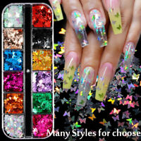 3D Laser Butterfly Fire Maple Leaf Sequins Nail Art Sticker Glitter Decoration