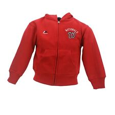 Washington Nationals MLB Majestic Youth Kids Size Full Zip Hooded Sweatshirt New