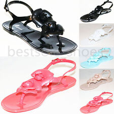 WOMENS LADIES FLORAL FLAT SANDALS SUMMER JELLY FLIP FLOPS PUMPS BEACH SHOES SIZE