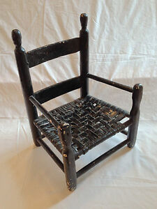 Antique Perhaps Amish Chair in Small Squat Shape, Woven Seat, in Black