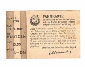 Biglietto III Weltfestspiele Il Jugend 1951 Treno 206 Bautzen (D7