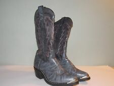 1990's Slate Blue Leather Western Style Boots by Wrangler Men's Size 7 Ee