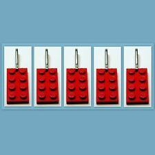 5 - 1000 Lot Zipper Pull w/ Lego 2x4 Red Plate, Birthday Party Favor, Game Prize
