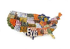 3D Resin Fridge Magnet Tourist Souvenir Memorabilia - Map of United States