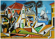 """Mediterranean Landscape - Hand Painted Picasso Oil Painting On Canvas 24x16"""""""