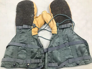 used US GI Arctic Military Mittens Air Force COLD WEATHER ECW Flyers Gloves N-4B
