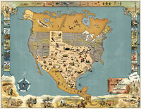 Pictorial Midcentury Official Texas Brags Map of North America Wall Poster Decor