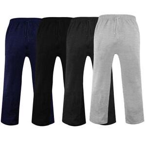 Mens Jogging Fleece Bottoms Joggers Casual Trousers Open Hem S-6XL
