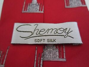 Vintage Shemoy Soft Silk 100% Men's Red Neck Tie with Taj Majal Pattern