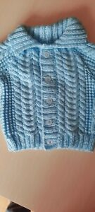 """Baby Boys Cable Jacket 16"""" Age Approx 0-6 Months Hand Knitted"""