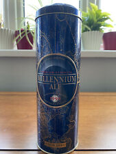More details for mansfield brewery company millennium ale in tall cylinder shaped tin blue&gold