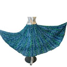 Indian Skirt Blue Green Ditsy Sheer Full Circle One Size  8 10 12 14 16 18 20